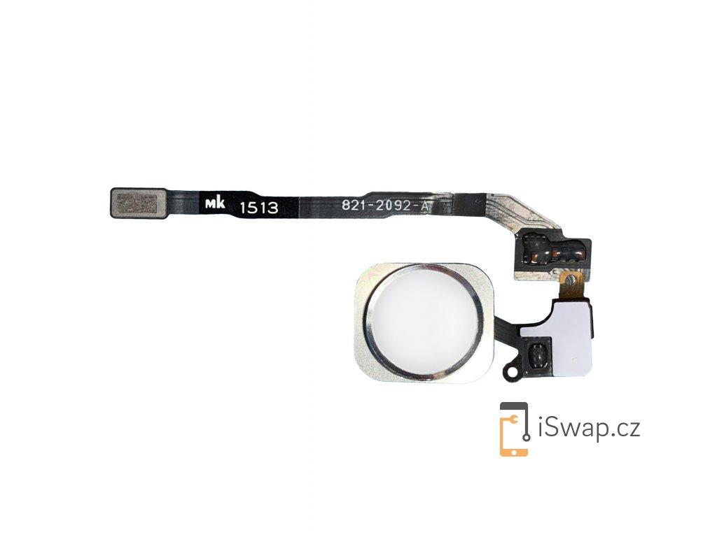 Flex kabel domácího tlačítka home buttonu bílý s stříbrným lemováním pro Apple iPhone 5S/SE