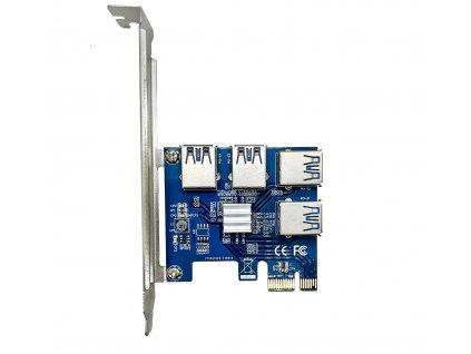 PCIe rozbočovač (mining Splitter) z PCIe na 4x USB 3.0