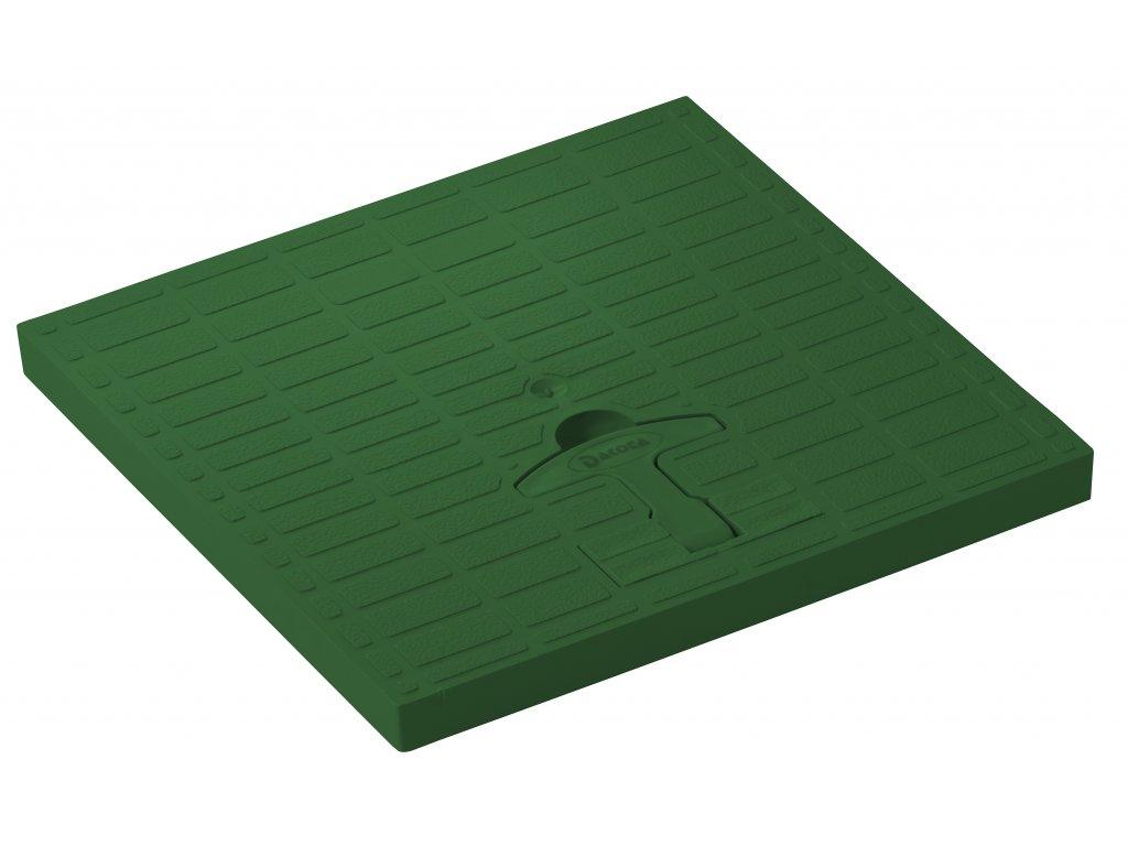 Poklop pochůzný zelený s madlem 300x300