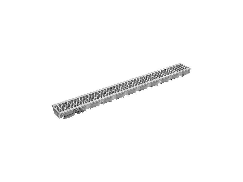 Žlab + mříž PP DDRAIN 100x35x1000 - šedá