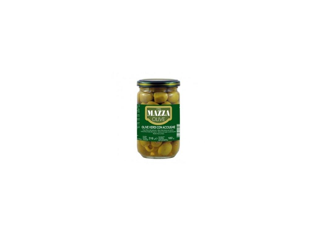 Plněné zelené olivy Mazza 316g