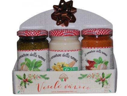 Dárková sada Salsa al Parmigiano Reggiano,Pesto Genovese,Pesto rosso