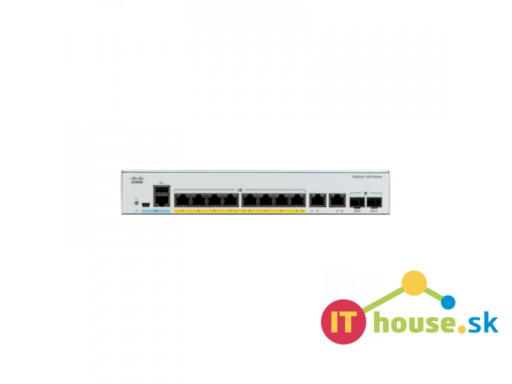 C1000-8FP-2G-L Catalyst C1000-8FP-2G-L, 8x 10/100/1000 Ethernet PoE+ ports and 120W PoE budget, 2x 1G SFP and RJ-45