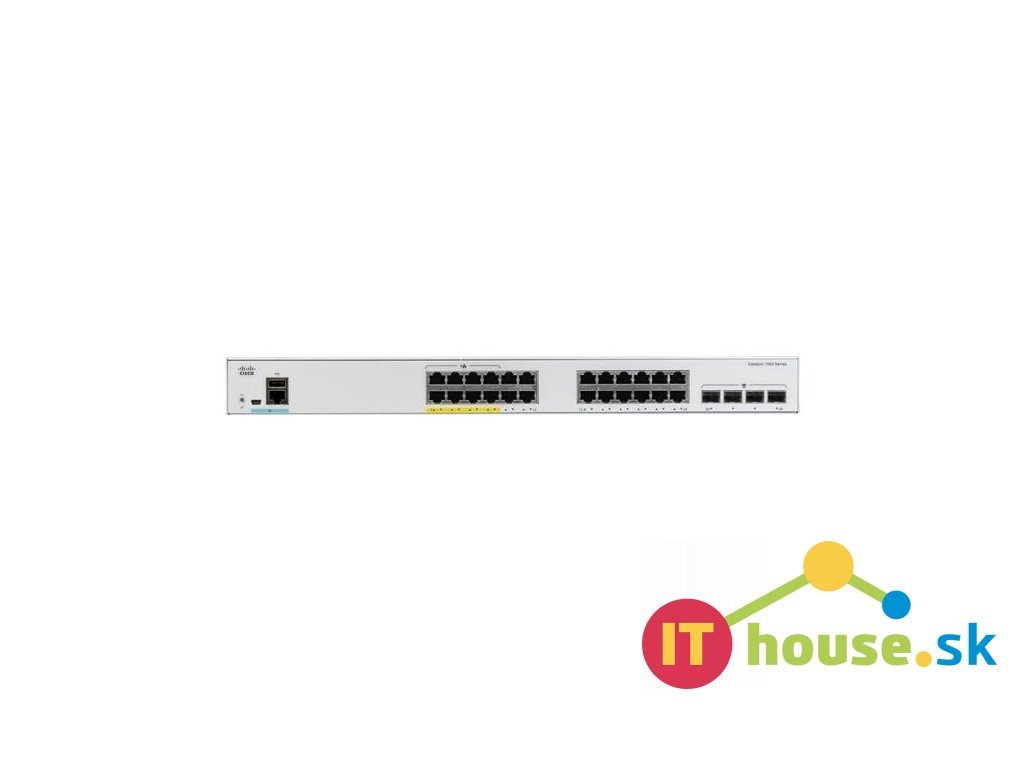 C1000-24FP-4X-L Catalyst C1000-24FP-4X-L, 24x 10/100/1000 Ethernet PoE+ ports and 370W PoE budget, 4x 10G SFP+