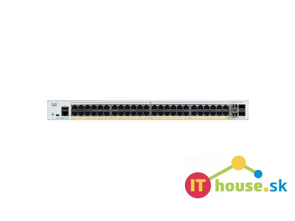 C1000-48FP-4X-L Catalyst C1000-48FP-4X-L, 48x 10/100/1000 Ethernet PoE+ ports and 740W PoE budget, 4x 10G SFP+ up