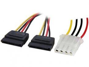 4World Napájecí kabel Molex M - 2xSATA F 15cm