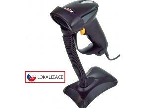 CCD čtečka Virtuos HT-310A, dlouhý dosah, USB (klávesnice/RS-232 emulace), stojánek, černá