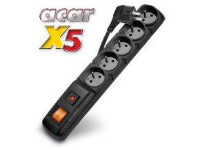 Rozvodný panel ACAR X5/5m 5x230V černý+přep.ochr.