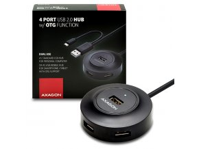 AXAGON HUE-X6GB, 4x USB2.0 hub, 80cm kabel + micro USB OTG, černý