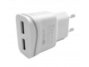 Nabíječka USB C-TECH UC-03, 2x USB, 2,1A, bílá