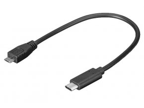 PremiumCord adaptér USB-C - microUSB 2.0, 0,2m