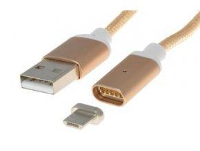 PremiumCord Magnetický micro USB 2.0, A-B nabíjecí a datový kabel 1m, zlatý