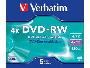 VERBATIM DVD-RW (4x, 4,7GB), 5ks/pack