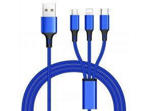 PremiumCord 3 in 1 USB kabel, 3 konektory USB typ C + micro USB + Lightning pro Apple, 1.2m