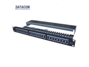 """DATACOM Patch panel 24p.CAT6 1U 3x8 LSA, STP 19"""" černý s vyvázáním"""