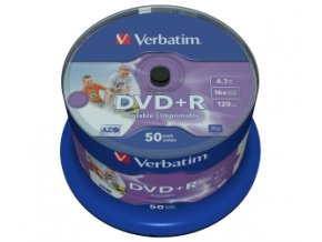 VERBATIM DVD+R(50-Pack)Cake/Print/16x/4.7GB/NoID