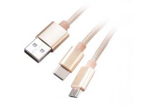 AKASA - 2 v 1 - USB 2.0 typ A na typ C a typ B