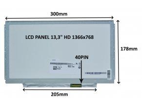 """LCD PANEL 13,3"""" HD 1366x768 40PIN MATNÝ / ÚCHYTY PO STRANÁCH"""
