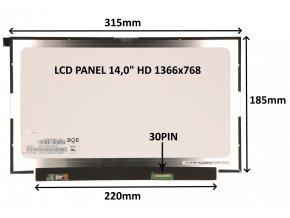"""LCD PANEL 14,0"""" HD 1366x768 30PIN MATNÝ / BEZ ÚCHYTŮ"""