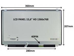 "LCD PANEL 15,6"" HD 1366x768 40PIN LESKLÝ / ÚCHYTY NAHOŘE A DOLE"