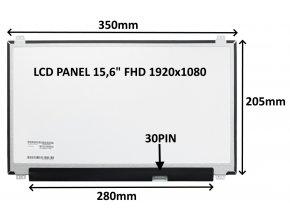 "LCD PANEL 15,6"" FHD 1920x1080 30PIN LESKLÝ IPS / ÚCHYTY NAHOŘE A DOLE"
