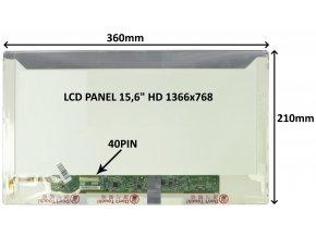 """LCD PANEL 15,6"""" HD 1366x768 40PIN MATNÝ / ŠROUBOVÁNÍ Z BOKŮ"""