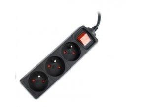 GEMBIRD prodlužovačka 3FR/10A/C14, 0,6m, černá
