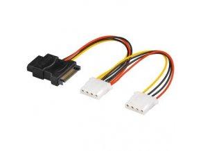 """PremiumCord Napájecí Y kabel k HDD Serial ATA na 3x 5,25"""" female 15cm"""