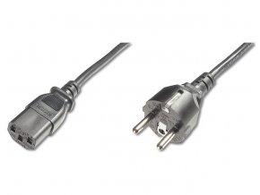 PremiumCord Kabel síťový 230V k počítači 2m , přímý konektor do zásuvky