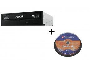 BUNDLE ASUS BW-16D1HT BLACK interní BD-RW bulk + Verbatim DVD-R 10cake