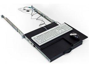 19' polička výsuvná/otočná pro klávesnici a myš černá