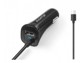 Aligator nab. do auta USB-C s USB 2,4A černá