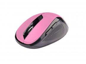 Myš C-TECH WLM-02P, černo-růžová, bezdrátová, 1600DPI, 6 tlačítek, USB nano receiver