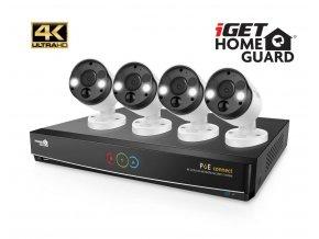 iGET HGNVK84904 - Kamerový UltraHD 4K PoE set, 8CH NVR + 4x IP 4K kamera, zvuk, SMART W/M/Andr/iOS