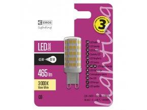 EMOS LED ŽÁROVKA CLASSIC JC A++ 4,5W(40W) 465lm G9 WW
