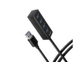 AXAGON HUE-M1AL, 4x USB 3.2 Gen 1 MINI hub, kovový, kabel USB-A 1.2m