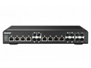 QNAP řízený průmyslový switch QSW-IM1200-8C: 12x 10G porty (4x SFP+ a 8x kombinované SFP+ / RJ-45)