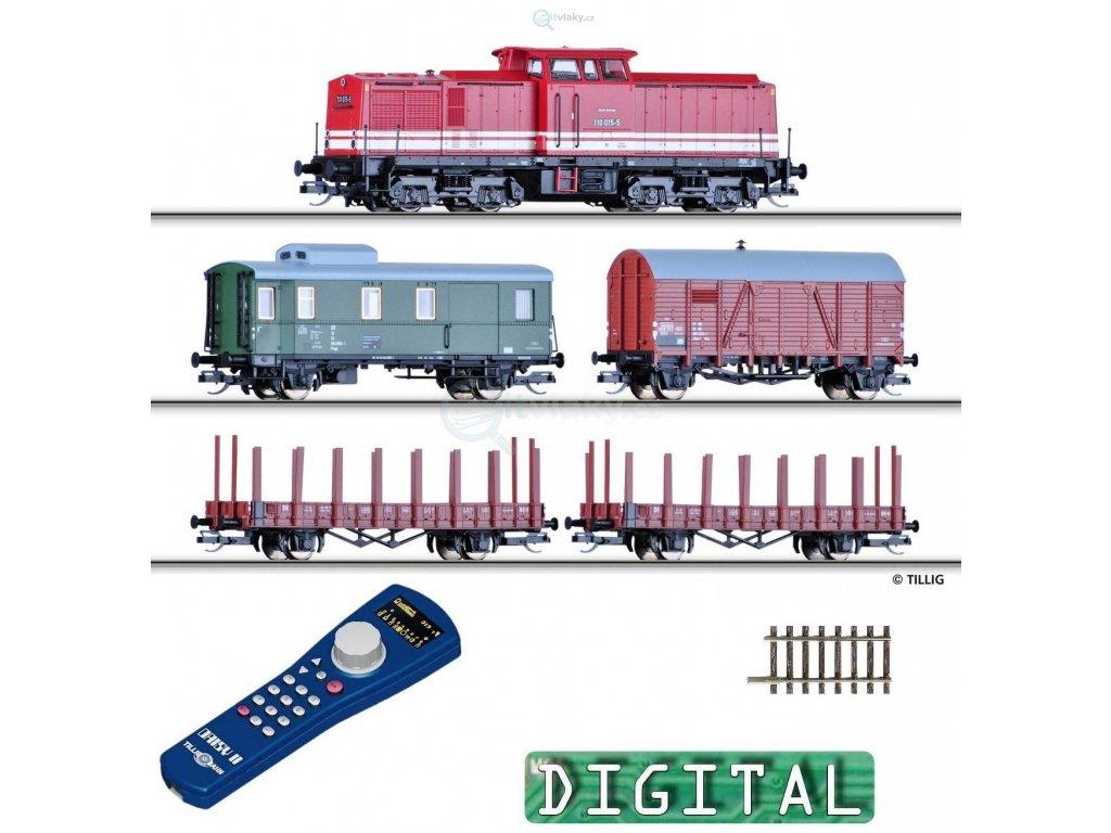 TT - DCC Start set - BR110 DR + 4 vozy, Daisy ovladač, ovál, el.výhybka / Tillig 01208