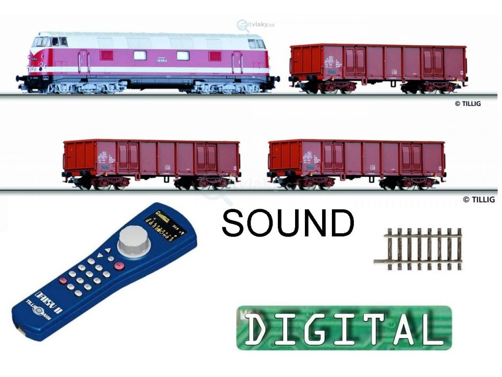 TT - DCC/ZVUK Start set - lokomotiva 118 + 3 vozy DR, koleje / TILLIG 01209