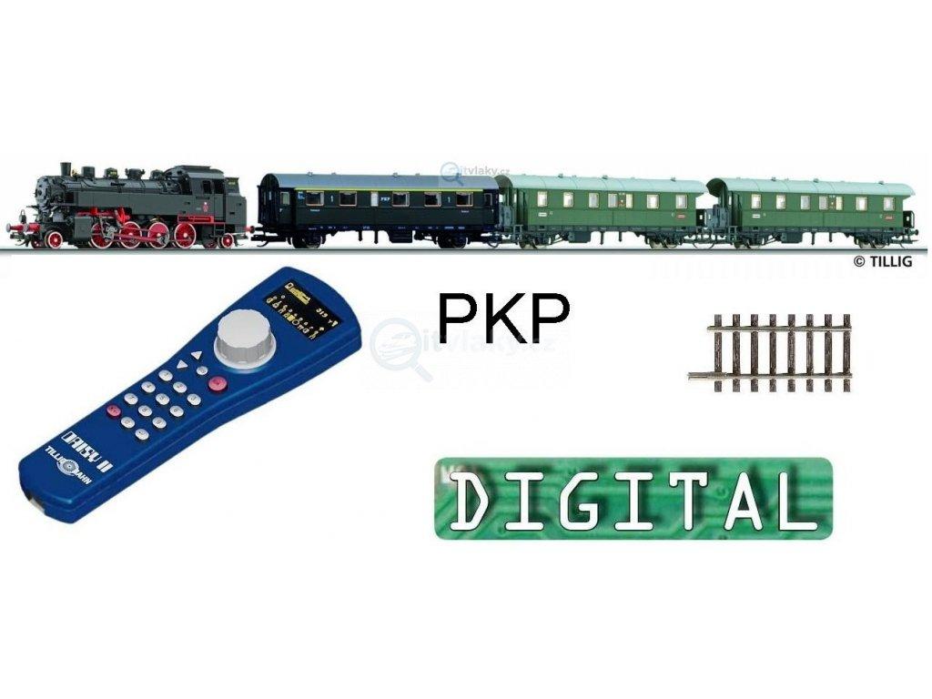 VYPRODÁNO! TT - DCC Start set PKP parní TKt3 + 3 vozy, el. výhybka / TILLIG 01210