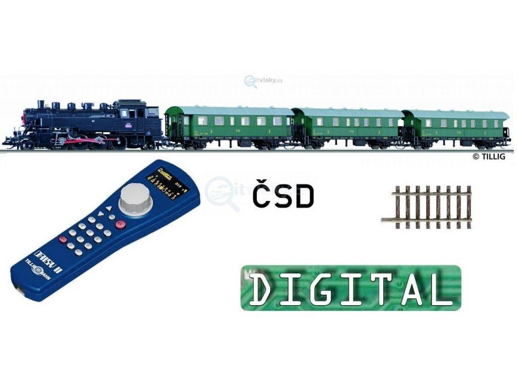 TT - DCC Start set ČSD parní 455.2 + 3 vozy, el. výhybka/ TILLIG 01211