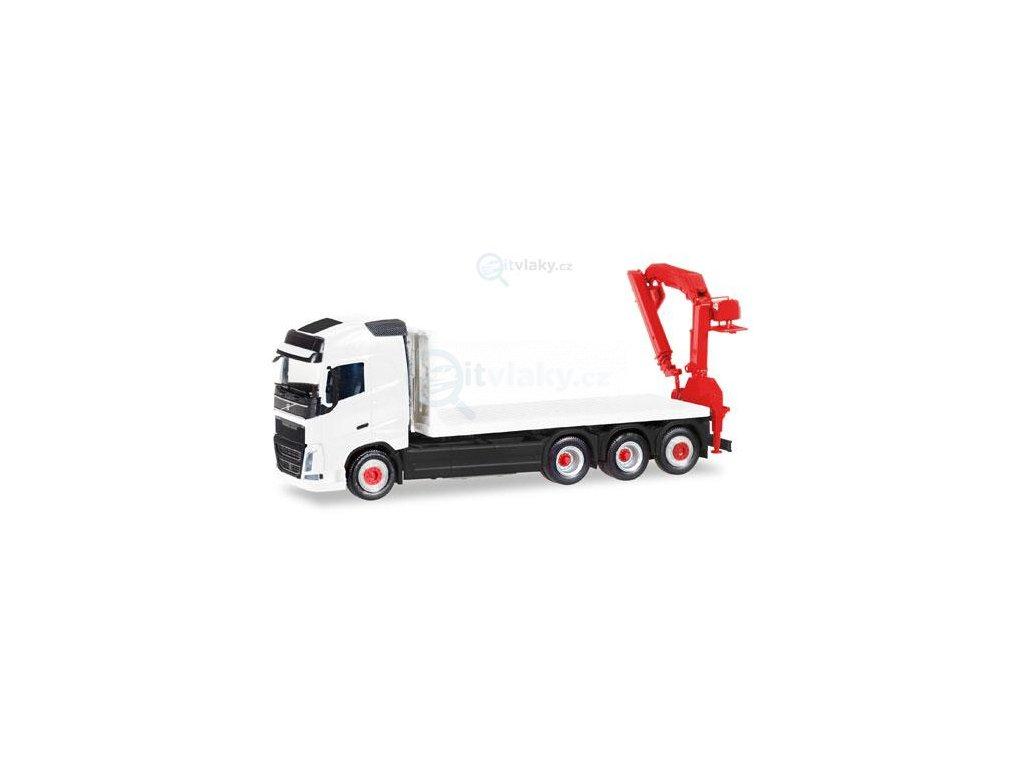 H0 - MiniKit: Volvo FH Gl. 4 axle flat truck with loading crane / Herpa 013154