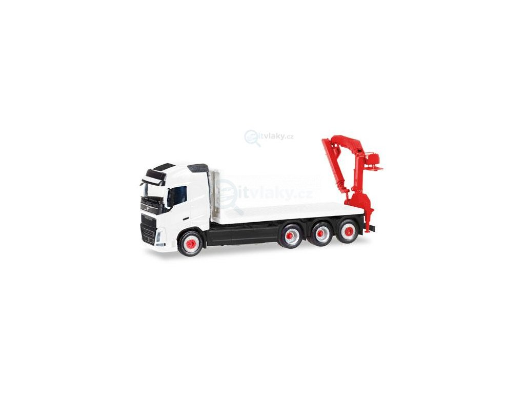 H0 - MiniKit: Volvo FH Gl. 4 axle flat truck with loading crane / Herpa 013154