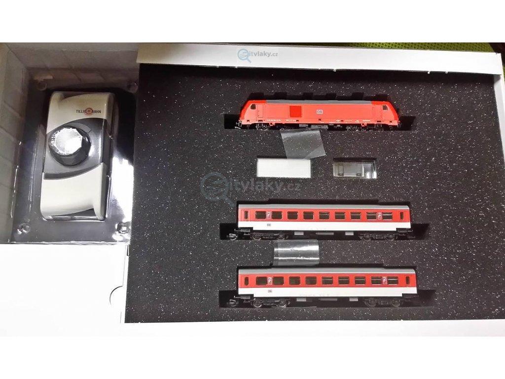 TT - Start set - lokomotiva TRAXX se 2 osobními vozy, DB AG / TILLIG 01437