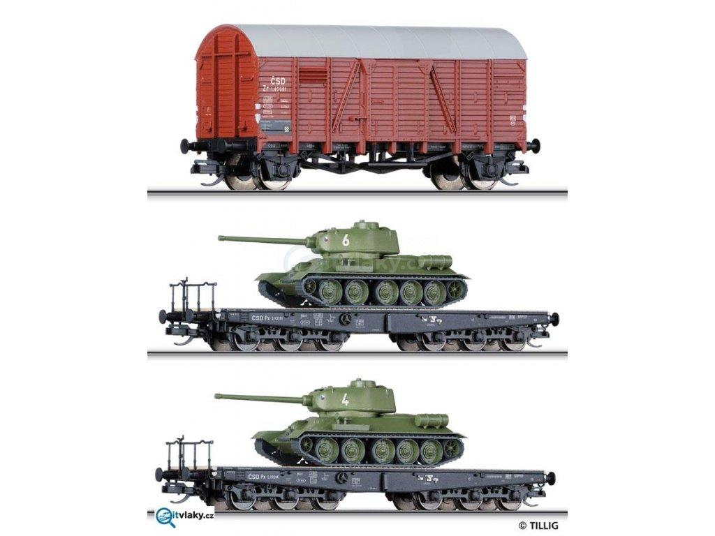 ARCHIV TT - set 2 vozů Px ČSD s tanky T34 a vozu Zr, transport ČSLA / Tillig 01628