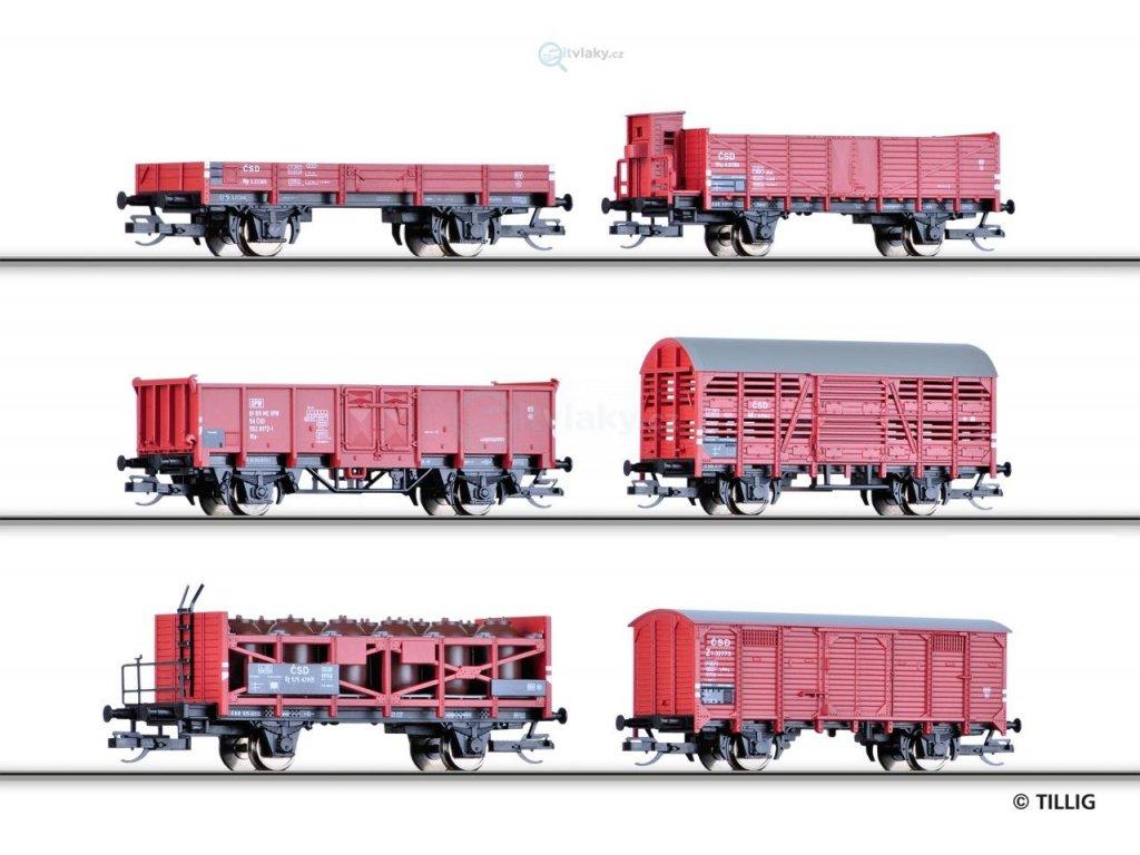 ARCHIV TT - Set 6ks nákladní vozů mix, ČSD, III. epocha / Tillig 01645