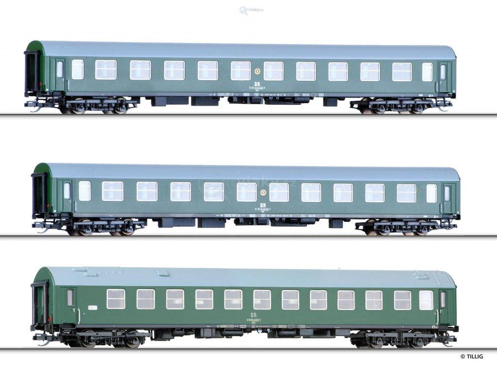 TT - Set 3-rychlíkových vozů WLAB, DR / TILLIG 01722