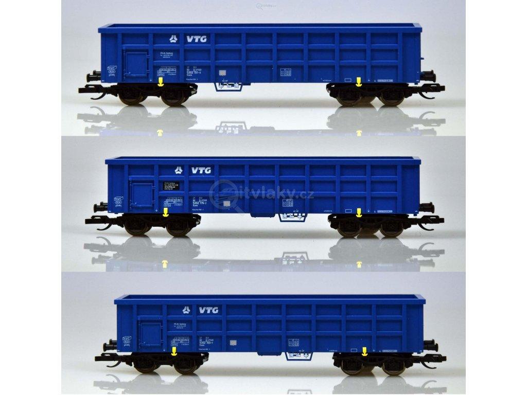 """ARCHIV TT - 3-dílný set otevřených nákladních vozů Eaos """"VTG"""" / TILLIG 01742"""