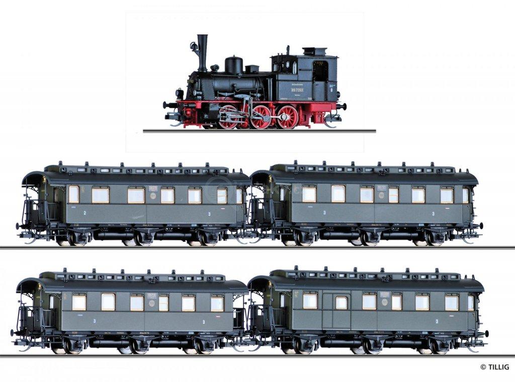 TT - DCC parní lokomotiva BR 89.70 DRG + 4 os. vozy /  TILLIG 01751