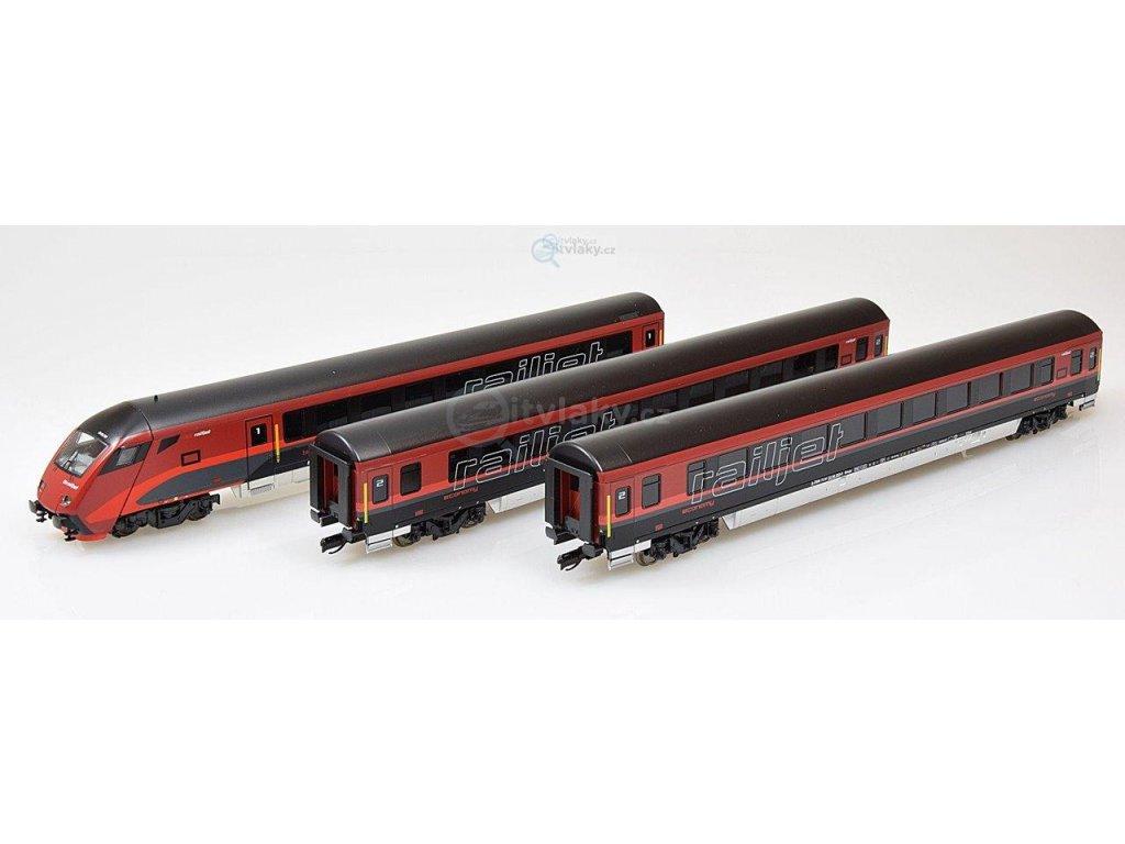 ARCHIV TT -  set 3 vozů Railjet ÖBB, 2x 2.třída a řídící vůz / Tillig 01755 E